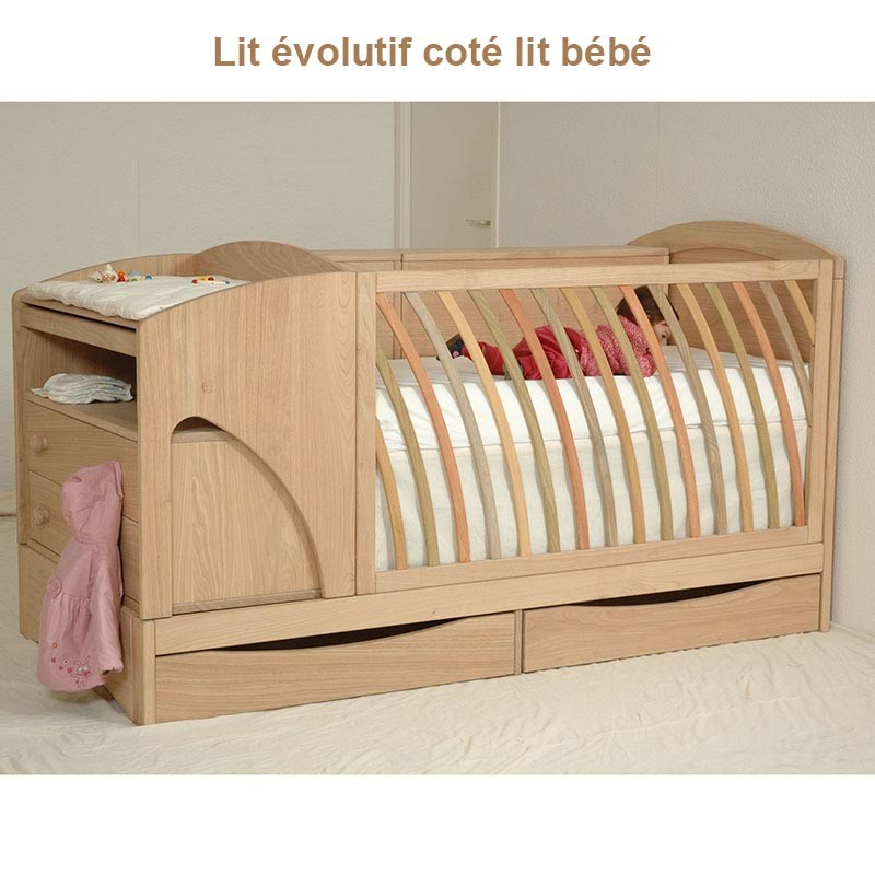 lit evolutif en chataignier le bois d 39 antan. Black Bedroom Furniture Sets. Home Design Ideas